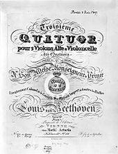 Page de titre de l'édition originale du treizième quatuor à cordes