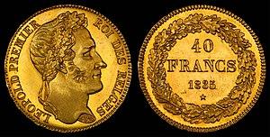 Belgian franc - Image: Belgium 1835 40 Francs