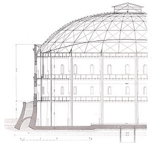 Johann Wilhelm Schwedler - Section, gas holder in Fichtestraße, Berlin, published 1876