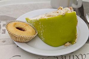 Princess cake - A slice of prinsesstårta with a hallongrotta.