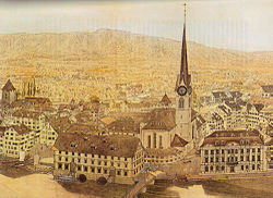 Fraumünster abbey, Münsterhof, old Kornhaus (to the left side) and Zunfthaus zur Meisen. Aquarell by Franz Schmid, showing situation in 1757.