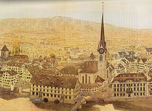 Fraumünster - Fraumünster abbey, Münsterhof, old Kornhaus (to the left side) and Zunfthaus zur Meisen. Aquarell by Franz Schmid, showing situation in 1757.