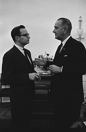 Bill Moyers - President Johnson (right) meets with special assistant Moyers in the White House Oval Office, 1963