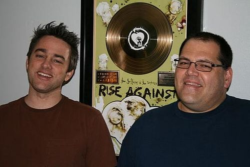 Jason Livermore (left) and Bill Stevenson (right) produced Revolutions per Minute at the Blasting Room. The duo would go on to produce four of Rise Against's next five albums. Bill Stevenson and Jason Livermore.JPG