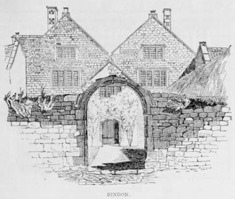 Bindon, Axmouth - Bindon manor house, drawing by Roscoe Gibbs, 1888