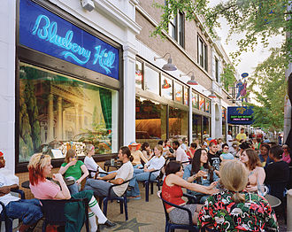 The Delmar Loop is a neighborhood close to Washington University, on the border of the city and St. Louis County Blueberry Hill patio.jpg