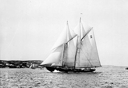 The Bluenose in 1921. The racing ship became a provincial icon for Nova Scotia in the 1920s and 1930s. Bluenose sailing 1921.jpg