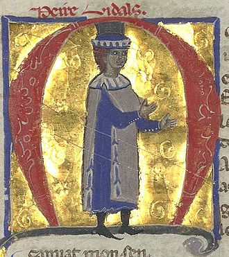 Peire Vidal - Peire Vidal (his name is written at top) as portrayed in a 13th-century chansonnier.