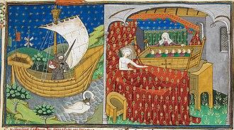 Talbot Shrewsbury Book - Boat and bed - British Library Royal MS 15 E vi f273r (detail)