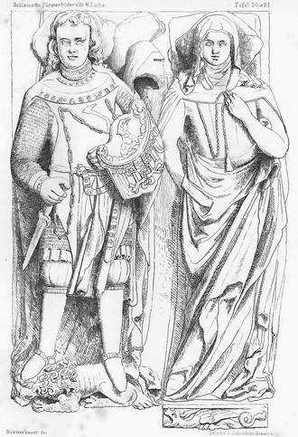 "Bolko II of Ziębice - Tomb of Bolko II and his wife Bonne ""Guta"" in Henryków."