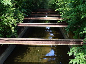 Boneyard Creek - Boneyard encased in sheet piling in Urbana