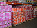 Boxes of Nissin Cup Noodles on pallets at Costco, SSF ECR.JPG