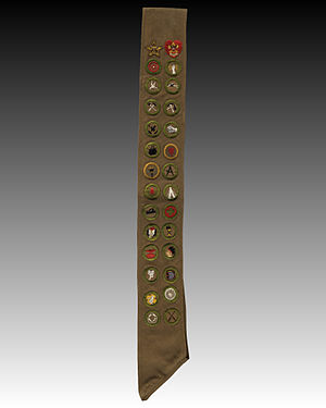History of merit badges (Boy Scouts of America) - A Boy Scout merit badge sash from the 1920s