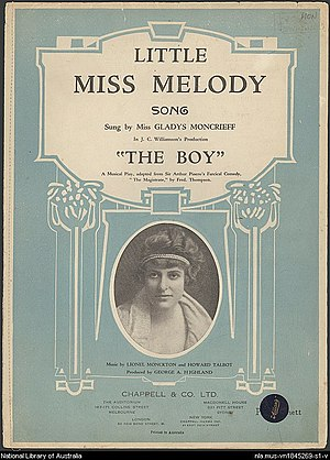 "The Boy (musical) - Australian sheet music to ""Little Miss Melody"""