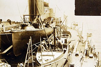 Brazilian battleship Minas Geraes - View of the Minas Geraes from above one of the gun turrets