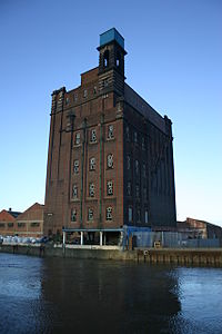 British Extracting Company building standing derelict beside the river Hull