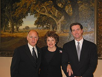 Jerry Brown - Mayor Jerry Brown (left) with U.S. Senator Dianne Feinstein (middle) and San Francisco Mayor Gavin Newsom (right) in 2007