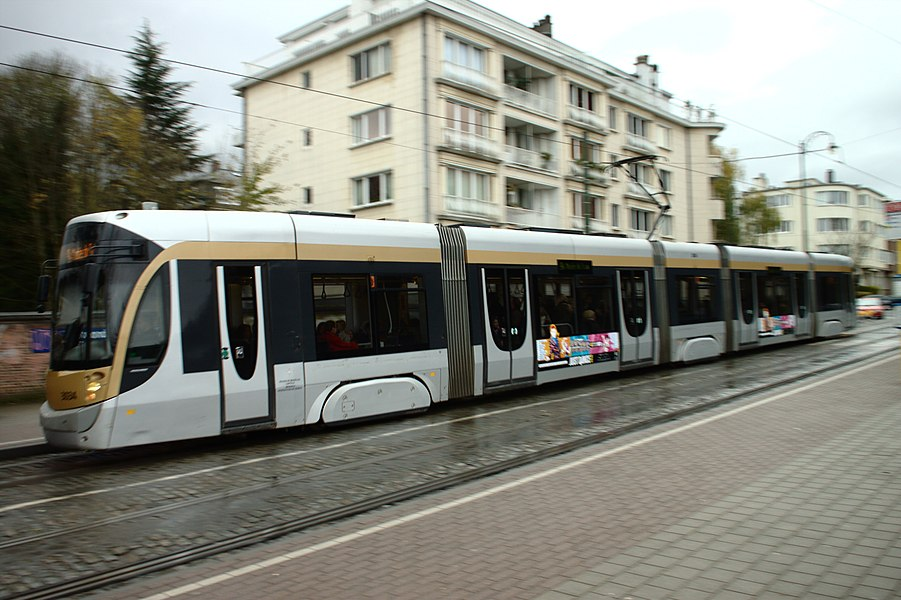 A tram at the Boondael Gare tram stop, Brussels, Belgium