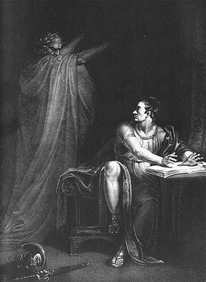 Assassination of Julius Caesar - Brutus and the Ghost of Caesar (1802), copperplate engraving by Edward Scriven from a painting by Richard Westall, illustrating Act IV, Scene III, from Shakespeare's Julius Caesar