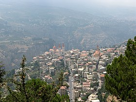 Bsharri (Becharre) village as seen from the slopes of Mt Lebanon, Bsharri, Lebanon.jpg