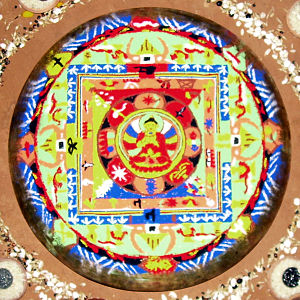 Mandala - Sandpainting showing Buddha mandala, which is made as part of the death rituals among Buddhist Newars of Nepal
