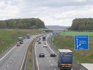 Bundesautobahn 63 - This photo is of Autobahn A 63 Kaiserslautern direction Mainz at the Sembach exit