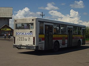 Vehicle registration plates of Russia - A bus with its registration number displayed in large characters on the back