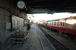 Butterley railway station, Derbyshire, England -platform and clock-19Jan2014.jpg