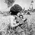 COLLECTIE TROPENMUSEUM Vrouw met kind tijdens de rijstoogst Preanger TMnr 10011130.jpg