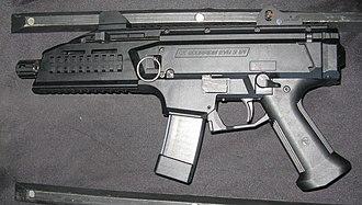 CZ Scorpion Evo 3 - 9 mm semi-auto CZ Scorpion EVO 3 S1 pistol-carbine, left view.