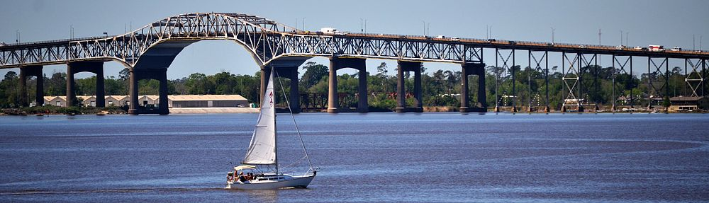 Interstate 10 crossing the Calcasieu River Bridge between Lake Charles and Westlake