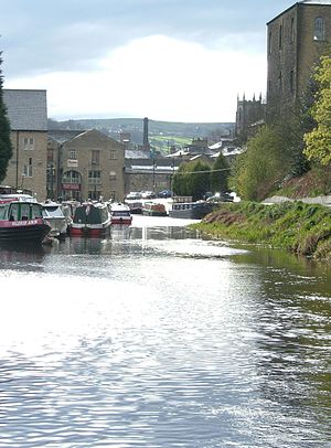Calder and Hebble Navigation - Looking towards the terminal basin of the Calder and Hebble Navigation, from a point near the junction with the Rochdale Canal