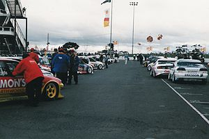 Calder Park Raceway - V8 Supercars line up in dummy grid at Calder Park, 1998.
