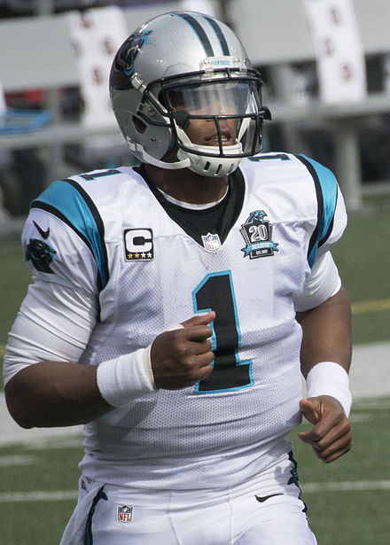 Cam Newton currently holds the record for the most career rushing touchdowns by a quarterback Cam Newton 2014.jpg