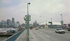 Cambie Bridge - A street-level view of the bridge in 1986