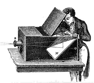 History of the camera - An artist using an 18th-century camera obscura to trace an image