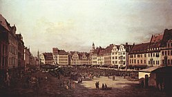 برناردو بلوتو: The Old Market in Dresden from Seegasse