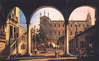 Canaletto - Capriccio of the Scuola di San Marco from the Loggia of the Palazzo Grifalconi-Loredan.JPG