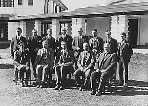 The presentation of the Charter of the Canberra Rotary Club, 1928, at the Hotel Canberra. Garran is seated, front centre.