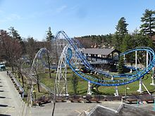 A view of the Canobie Corkscrew roller coaster