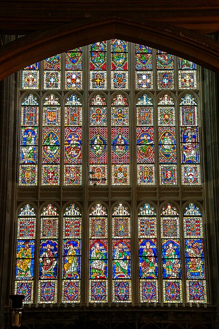 One of the many stained-glass windows at Canterbury Cathedral Canterbury stained glass 7379.jpg