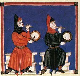 Egykezes furulyák dobokkal a Cantigas de Santa Maria középkori kézirat illusztrációján