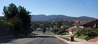 Canyon Country, Santa Clarita, California - A neighborhood in the Sierra Pelona Mountains, in Canyon Country near the central Sand Canyon and Soledad Canyon Roads junction with the San Gabriel Mountains in the background.