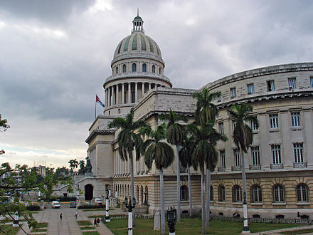 The Capitolio Nacional in Havana, built in 1929 and said to be modeled on the Capitol building in Washington, D.C. Capitolio havana.jpg