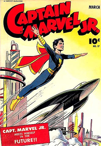Retrofuturism - Retrofuturistic cities were popular subject in Golden Age comic books. From Captain Marvel Jr number 17 (March 1944); artwork by Mac Rayboy