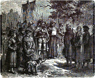 Münster rebellion - Captured citizens brought before an anabaptist leader during the Münster rebellion