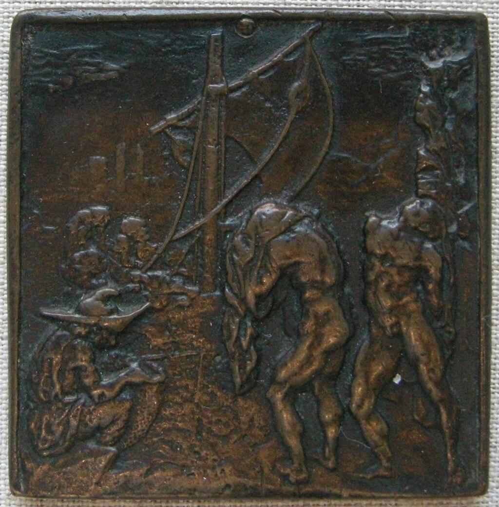 Caradosso, scena della Gomena di Plauto, 1485 circa