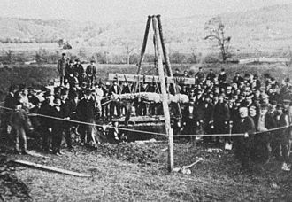 Cardiff Giant - The Cardiff Giant being exhumed during October 1869.