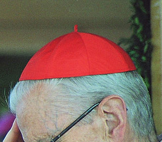 Zucchetto skullcap worn by ordained clergy in the Roman Catholic church as part of ecclesiastical dress