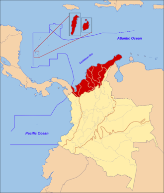 Caribbean region of Colombia - The Caribbean Region of Colombia detailed in the dark red area with territorial waters.